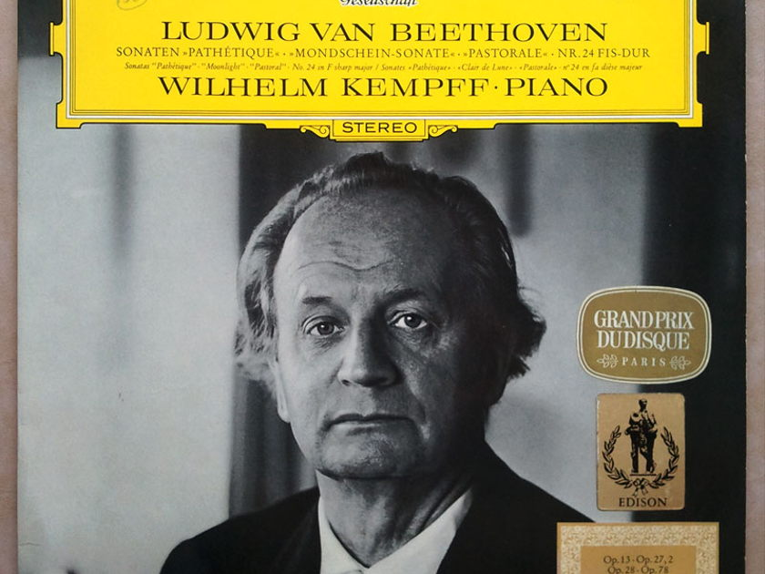 DGG/Wilhelm Kempff/Beethoven - Sonatas Pathetique, Moonlight, Pastoral, No. 24 in F Sharp Major / EX