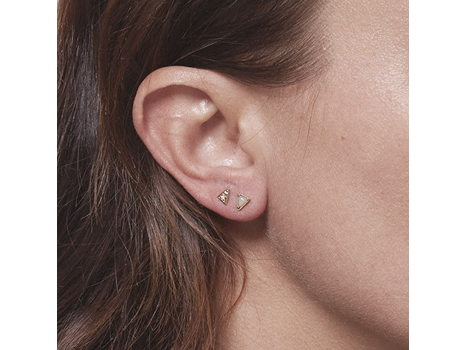 Mociun- 14K Mismatched Triangle Snowdrift Agate & Diamond Earrings