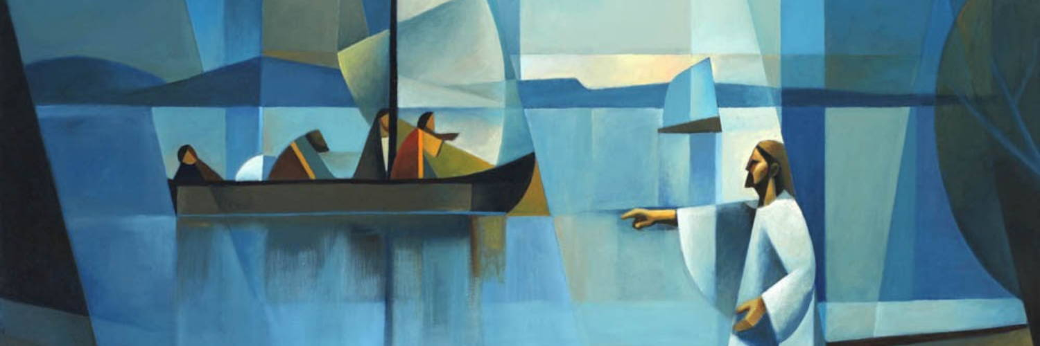 Abstract LDS art of Jesus calling out to the apostles from the seashore.