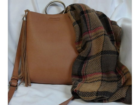 Street Level Suede Ring Crossbody with Bonus Scarf