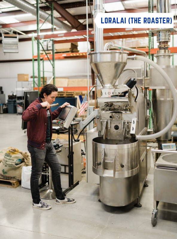 A man operating the Loring roaster