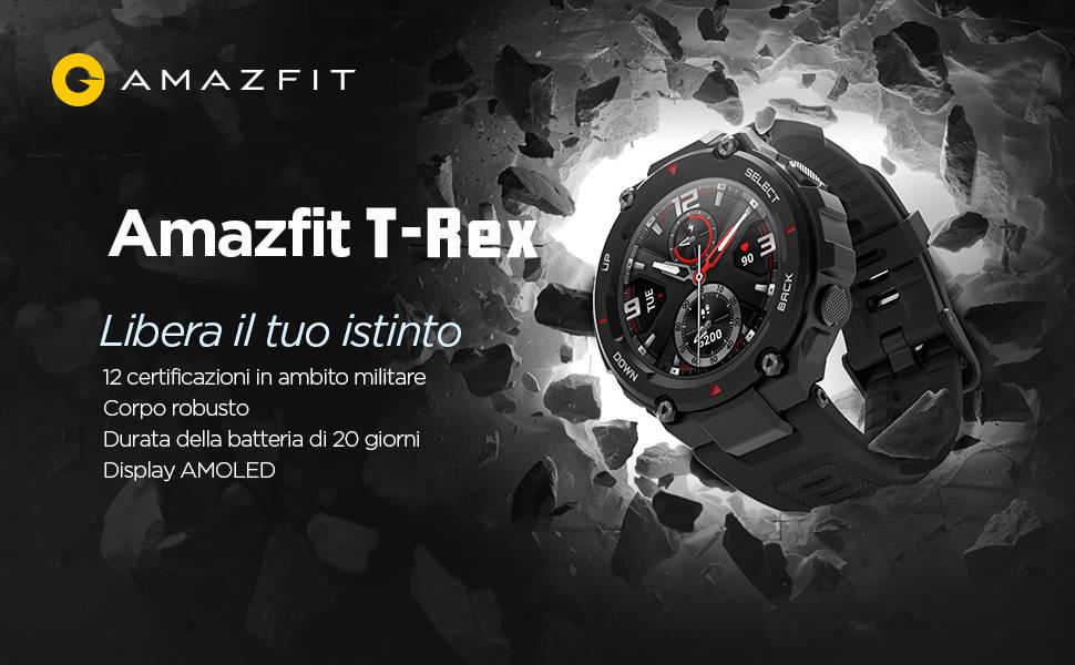Amazfit T-Rex - Libera il tuo istinto  12 certificazioni in ambito militare | Corpo robusto  Durata della batteria di 20 giorni | Display AMOLED