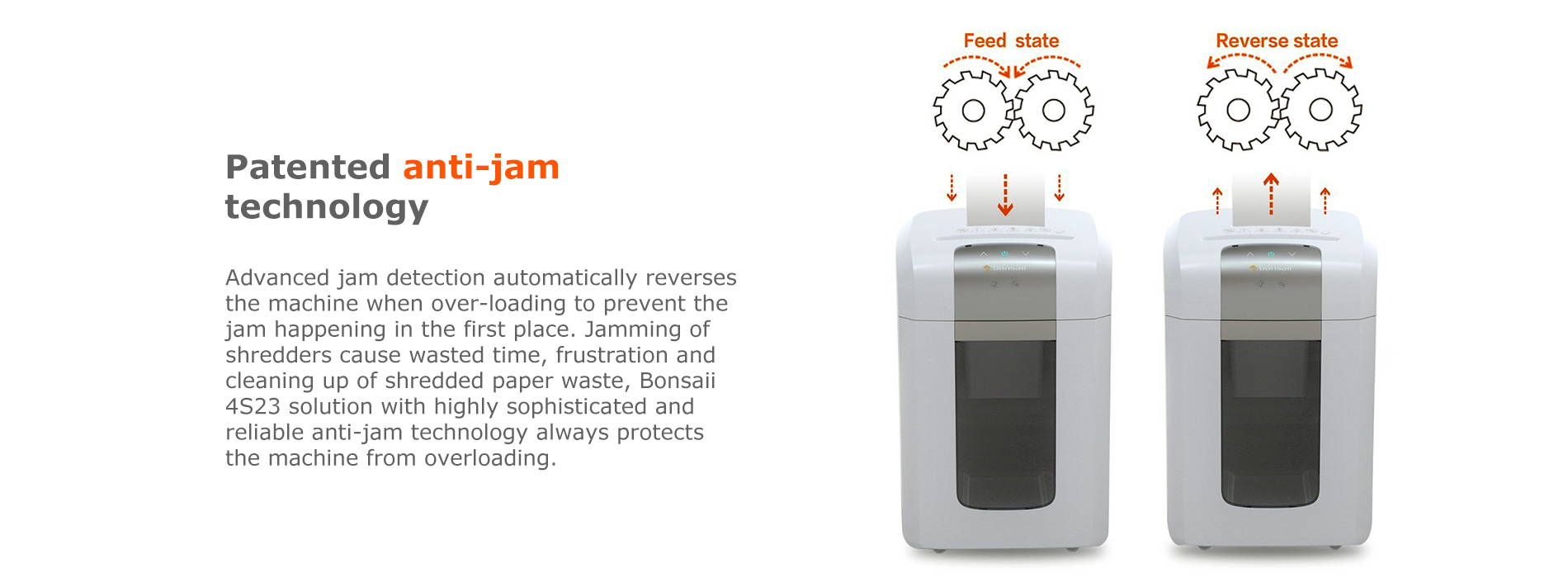 Patented anti-jam technology Advanced jam detection automatically reverses the machine when over-loading to prevent the jam happening in the first place. Jamming of shredders cause wasted time, frustration and cleaning up of shredded paper waste, Bonsaii 4S23 solution with highly sophisticated and reliable anti-jam technology always protects the machine from overloading.