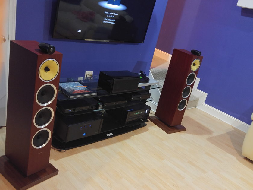 Bowers & Wilkins CM10 S2 Rosenut Pair with custom rosenut stands.