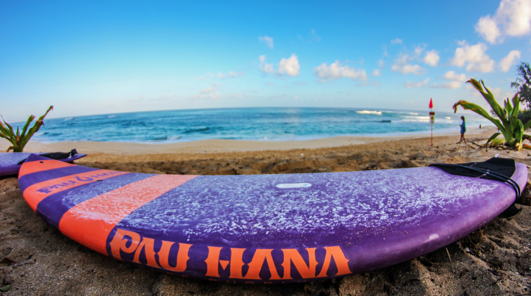 Pau Hana Purple and Orange Carve at Sunset beach on Oahu