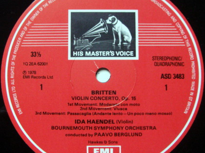 EMI ASD STAMP-DOG / IDA HAENDEL, - Britten-Walton Violin concertos, MINT!