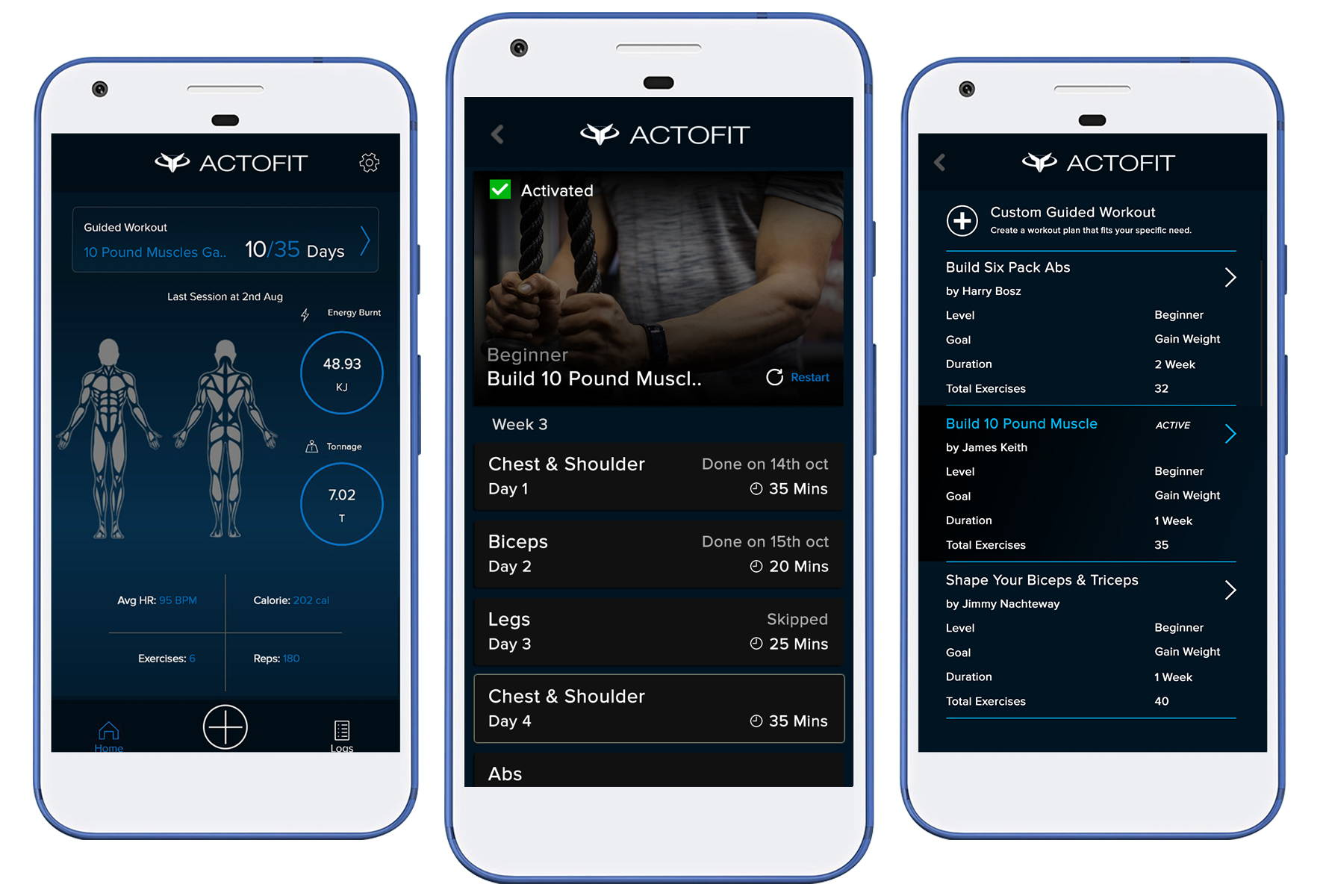actofit guided workout mode