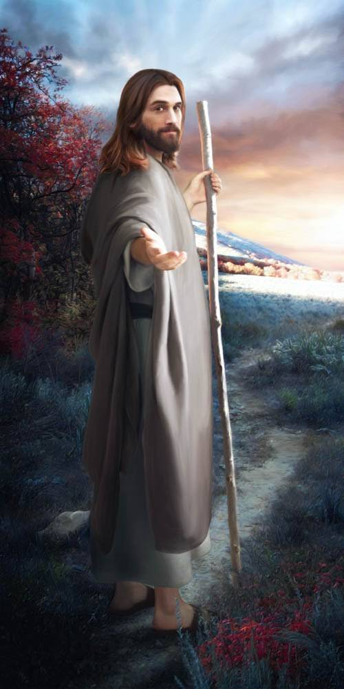 Beautiful painting of Jesus standing on a path. He is beckoning the viewer to follow.