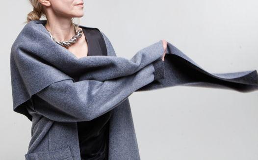 Серо-голубое двустороннее пальто со съемным капюшоном шарфом #40