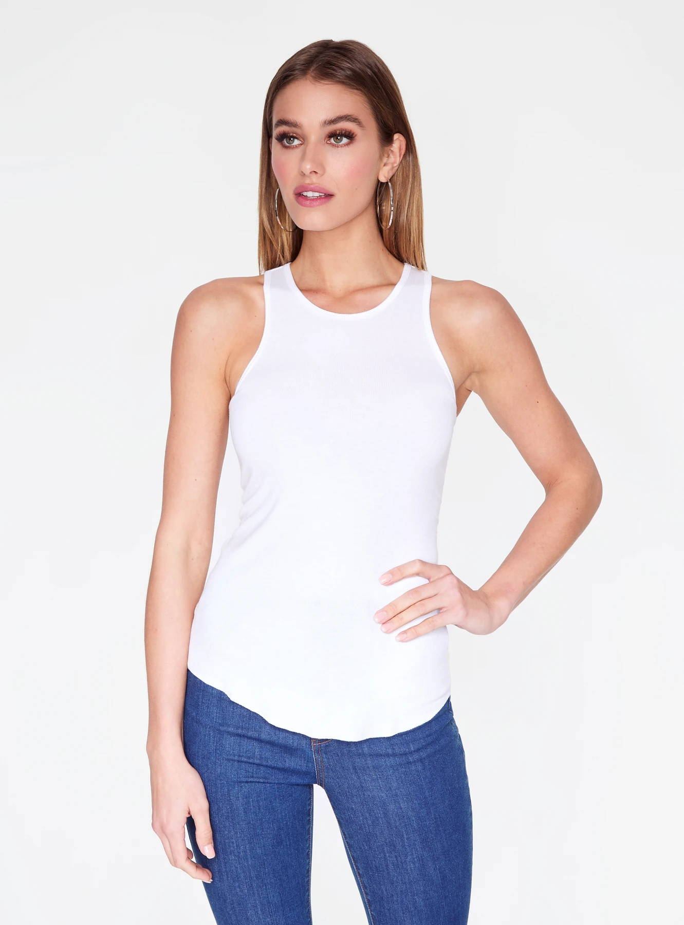 White Ribbed Tank Top