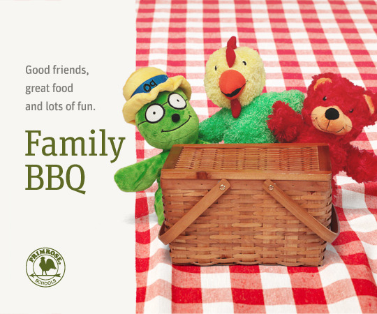 3 Primrose puppets (Og the Bookworm, Percy the Rooster, and Benjamin the Bear) sit on a picnic blanket behing a picnic basket