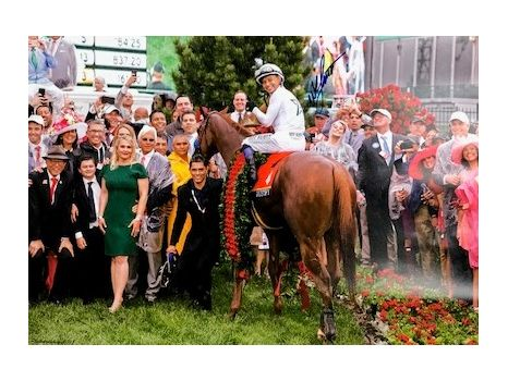 Framed Photo of Justify in the Kentucky Derby Winner's Circle Autographed by Mike Smith