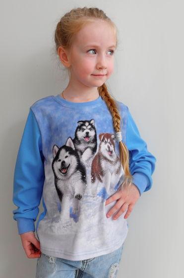 Хлопковый лонгслив с принтом трех озорных щеночков