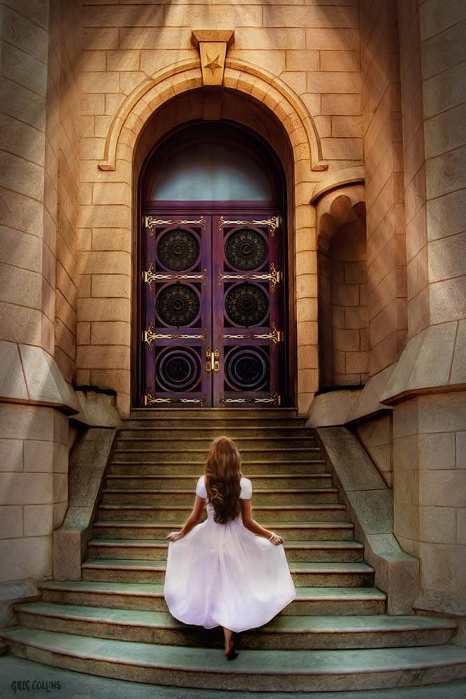 LDS art photo of a young woman walking up the steps to the temple.