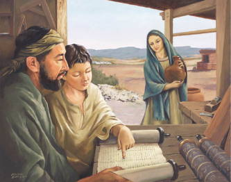 Painting of child Jesus and Joseph reading from a scroll. Mary watches on with a smile.