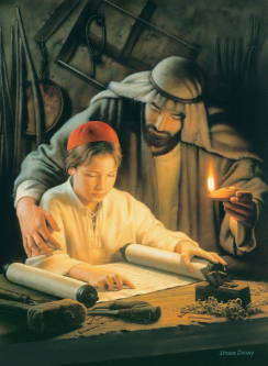 Painting of Joseph holding a lamp and reading from a scroll with young Jesus.