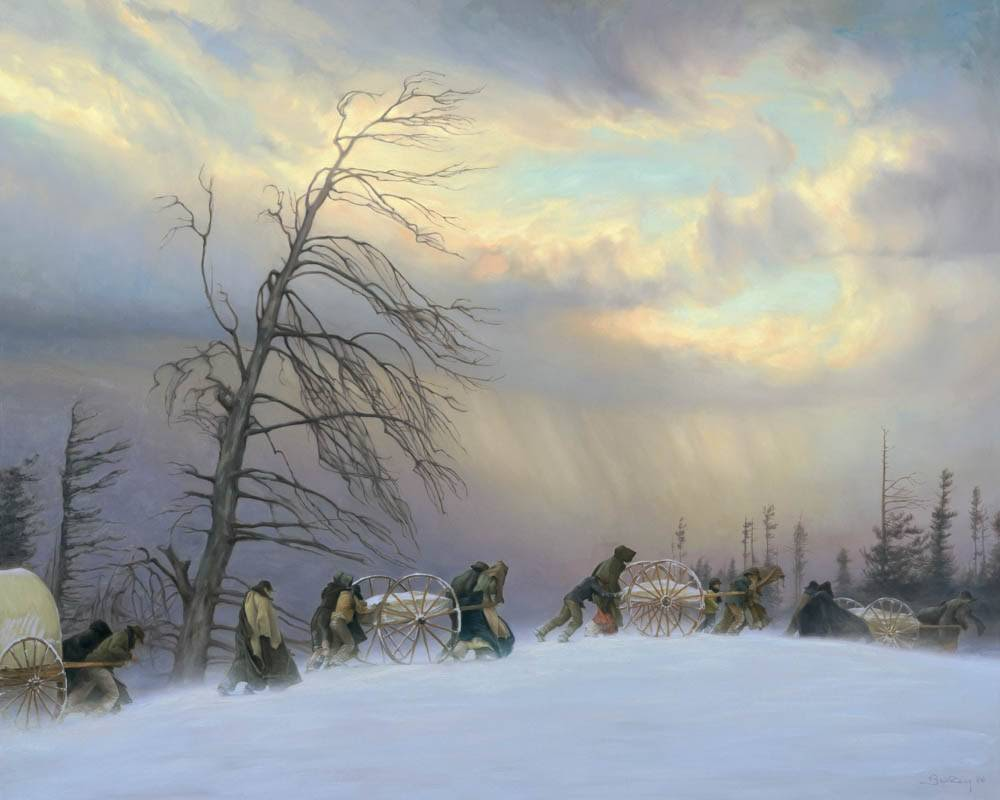 LDS art painting of a handcart company traveling through the snow.