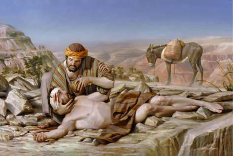 LDS art painting of the Good Samaritan nursing the wounded Jewish man.