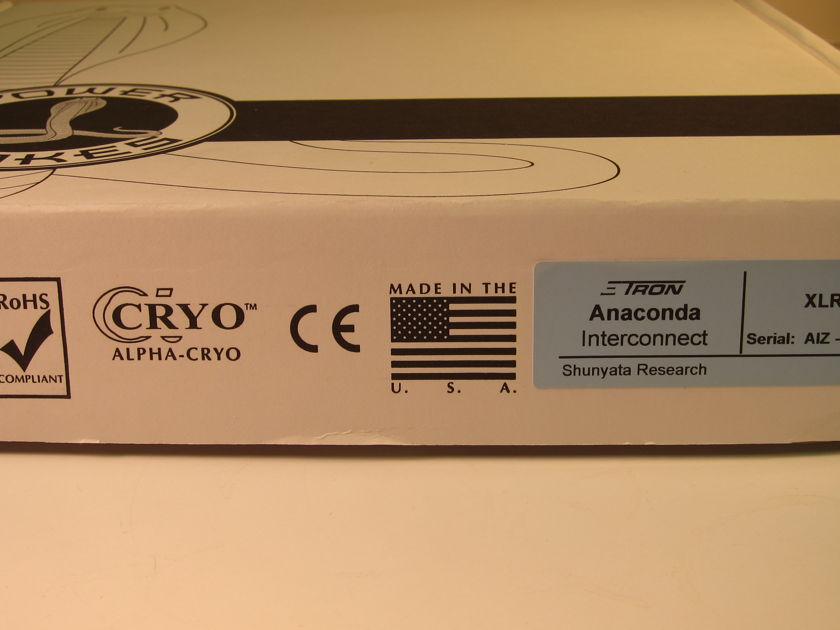 SHUNYATA ANACONDA Z TRON (ZiTRON) 2.5m XLR SINGLE NEW IN BOX - NEVER OPENED OR USED