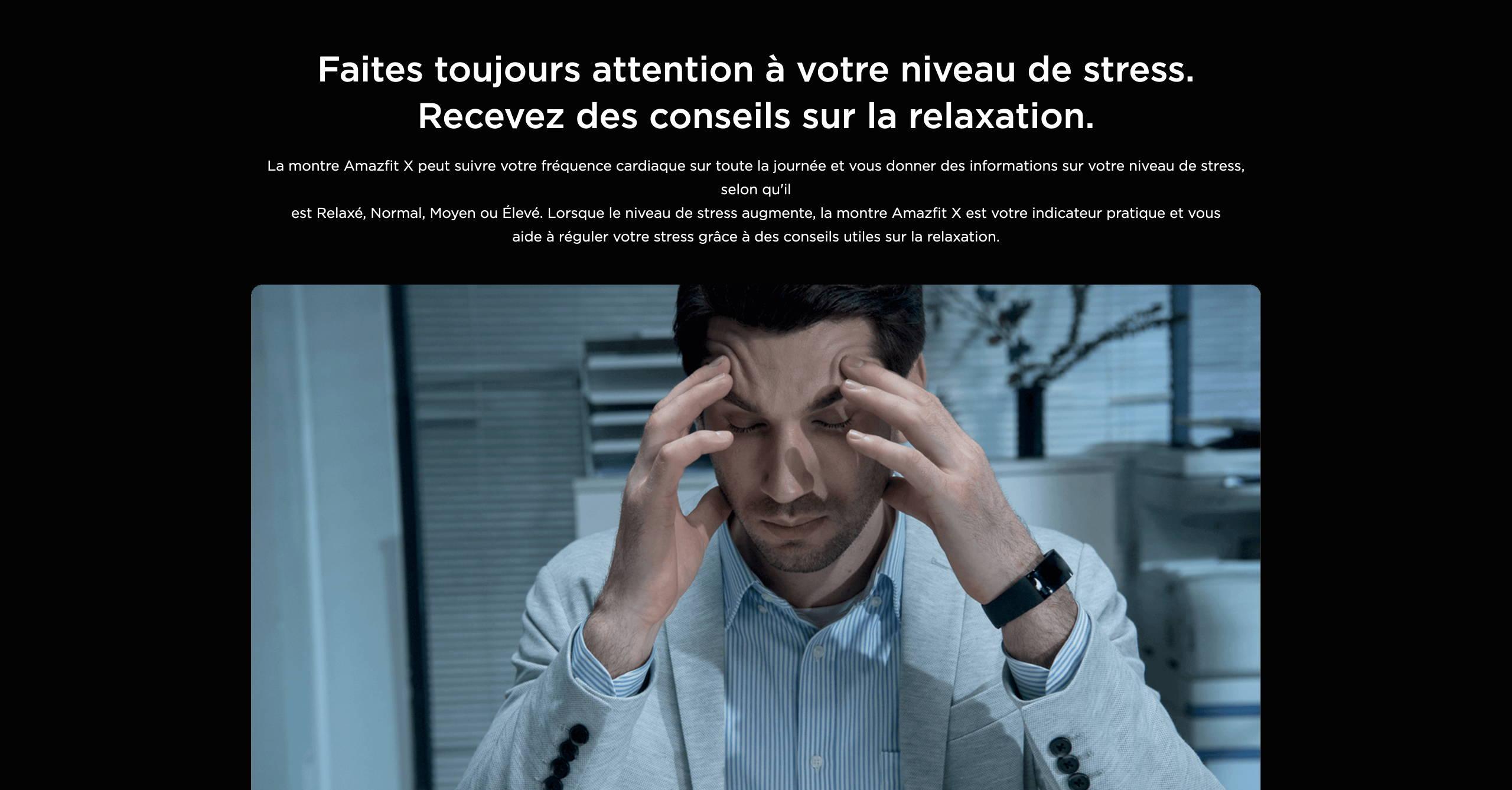 Amazfit X - Faites toujours attention à votre niveau de stress. Recevez des conseils sur la relaxation.