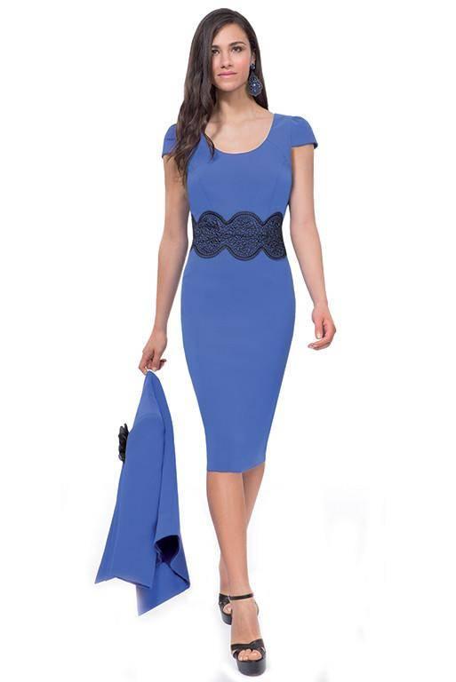 MICHAELA LOUISA 8429 BLUE DRESS WITH LACE PANEL