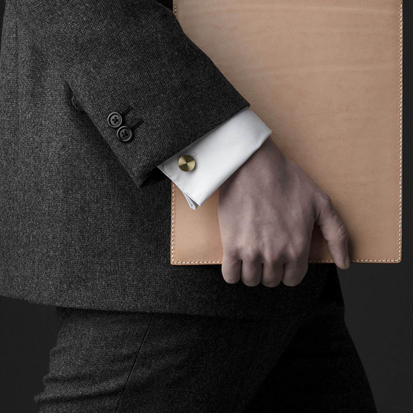 Brass Cufflink worn