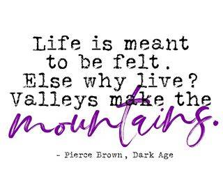 Life is meant to be felt. Else why life? Valleys makes the mountains. Quote from Pierce Brown, Dark Age