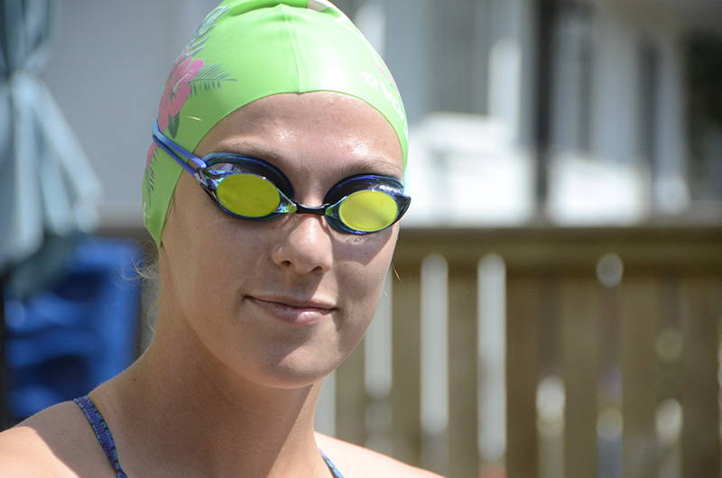 Swimmer wearing Vorgee Missile Goggles
