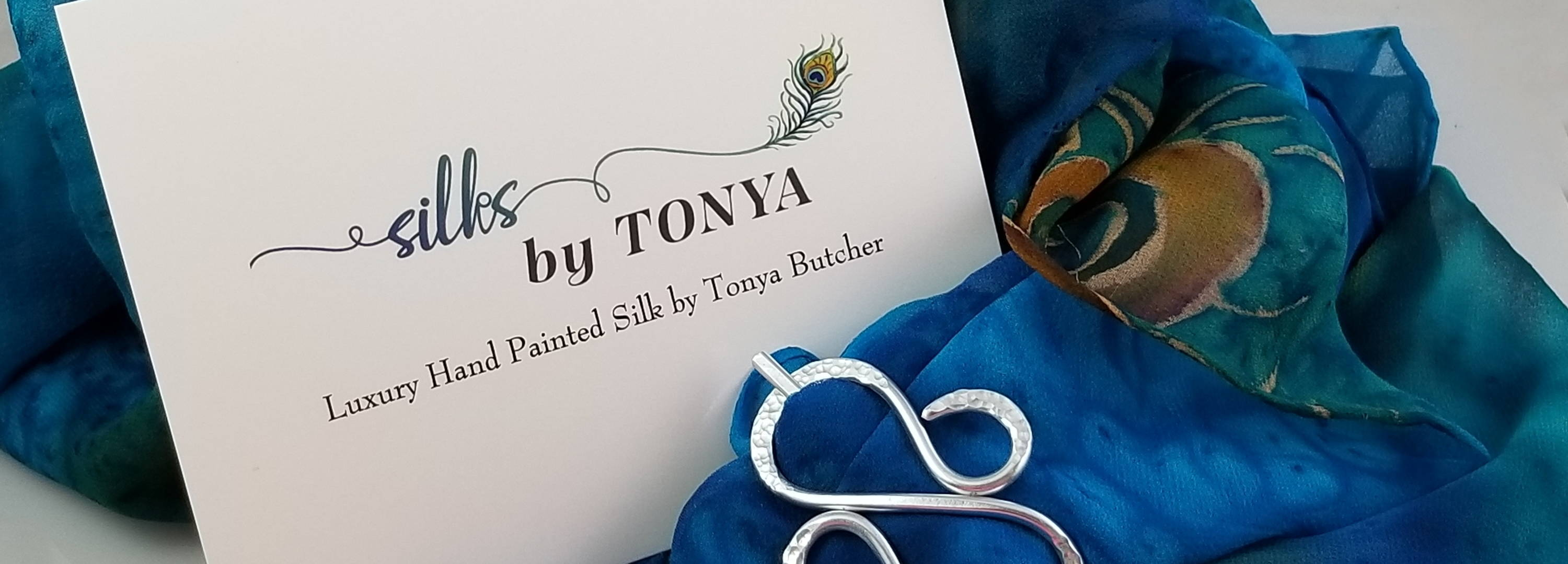 logo card and silk painted scarf and scarf pin by tonya butcher