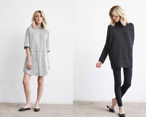 Woman wearing grey shirt dress in a subtle grey stripe and woman wearing black turtleneck knitwear and black legging trousers from sustainable fashion brand Vetta