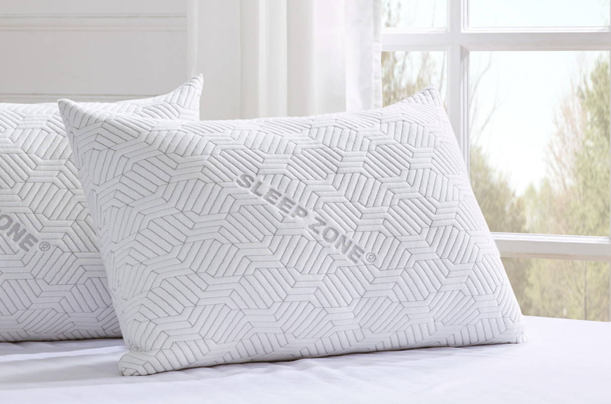 sleep zone bedding website store products collections   adjustable bamboo fiber pillow white