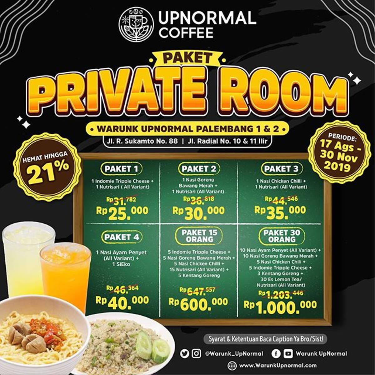 Katalog Promo: Warunk Upnormal Palembang: Promo PAKET PRIVATE ROOM Mulai Rp 25.000! - 1