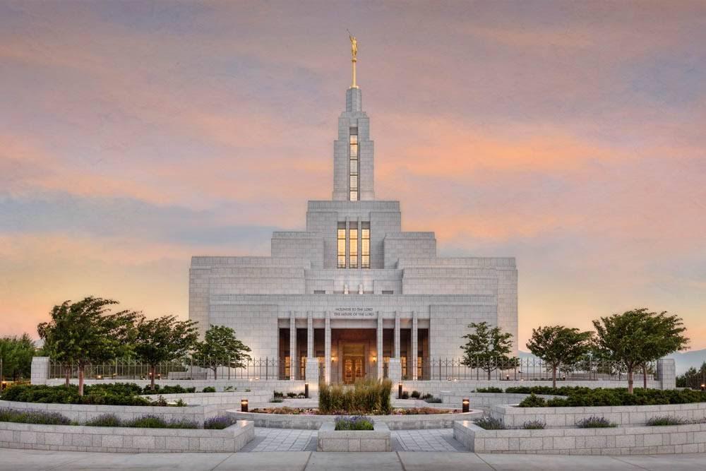 Photo of Draper Utah LDS Temple at sunrise.