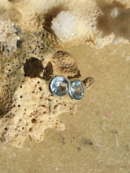 Серьги-гвоздики с аквамарином натуральным