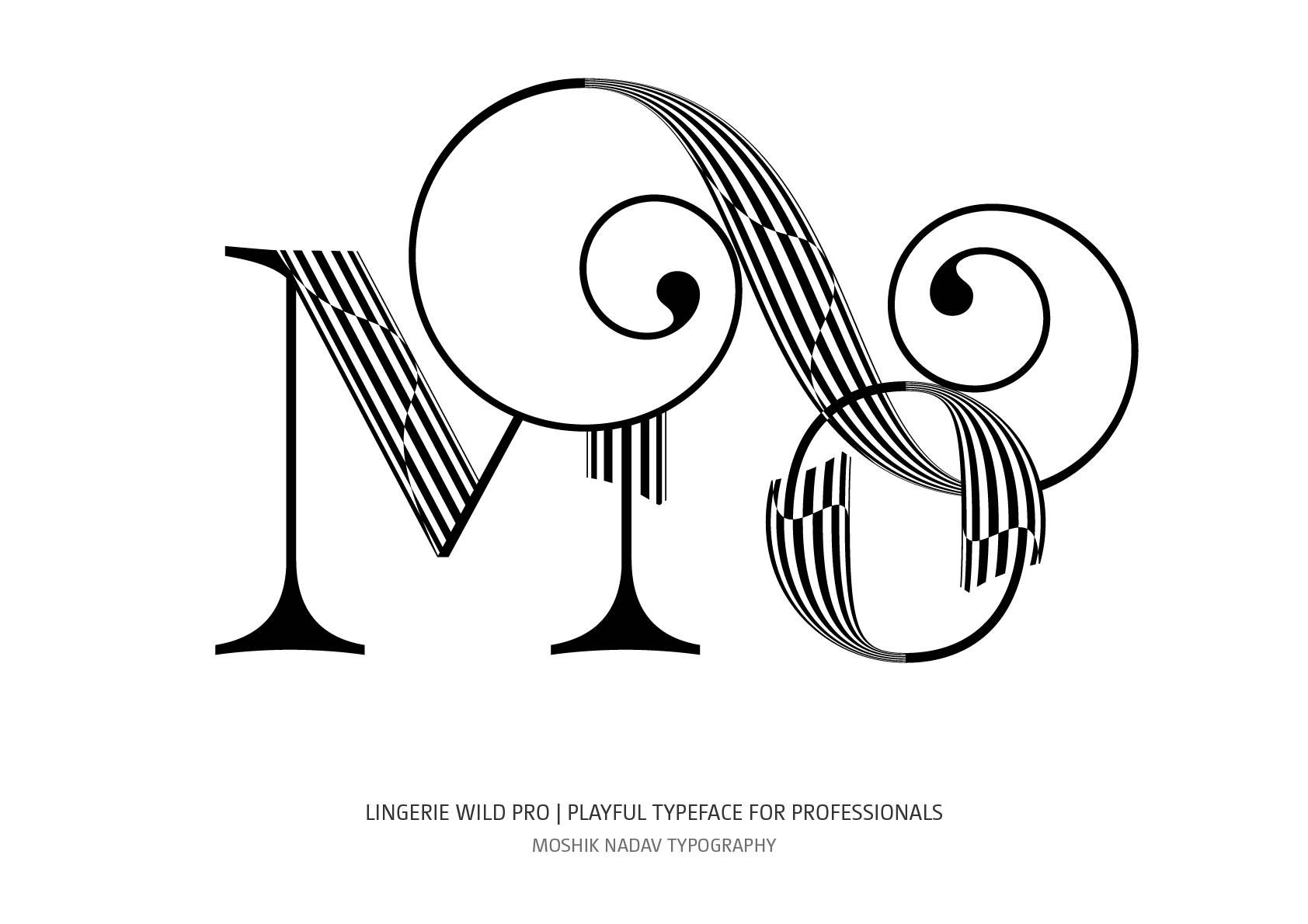 Mo ligature designed with Lingerie Wild Pro typeface new font for fashion and luxury logos