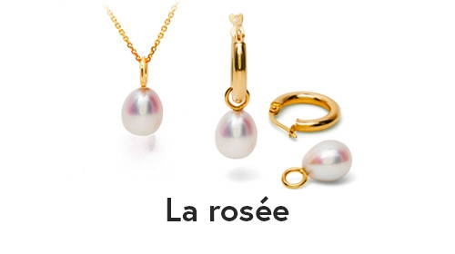 Pendentif et boucles d'oreilles avec perles blanches de culture d'eau douce. Toute délicate de Flamme en rose.