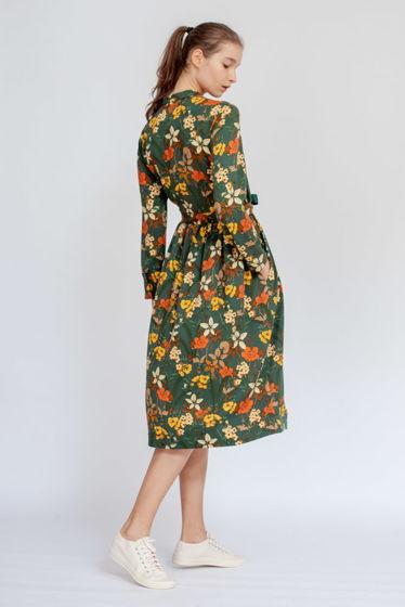 Платье с кулиской темно-зеленое в цветок