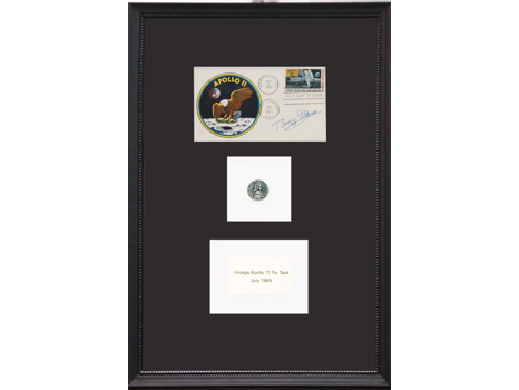 FIRST DAY COVER AND APOLLO 11 OWL'S HEAD LANDING TIE TACK SIGNED BY BUZZ ALDRIN.