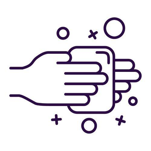 purple icon of person washing hands with soap