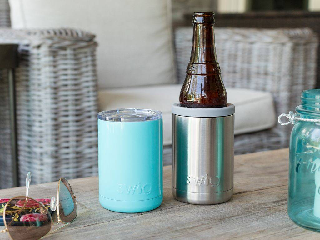 Two Swig Life products, a cup, a beer cooler