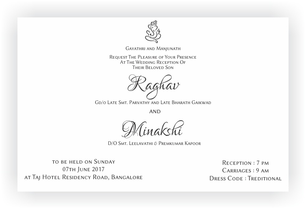 Reception Ceremony Invitation Wordings