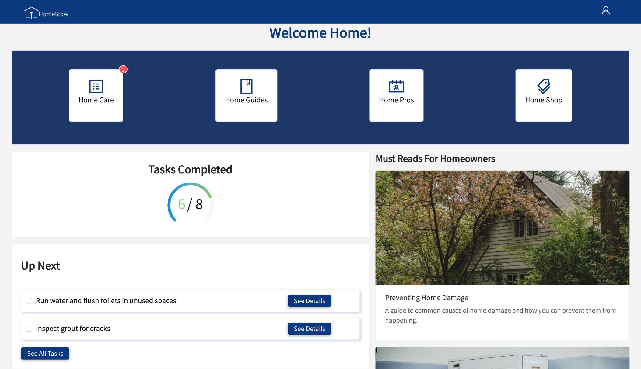 HomeStow home dashboard