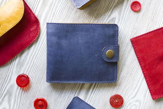 """Синий  кошелек, портмоне из натуральной кожи """"Океан"""""""
