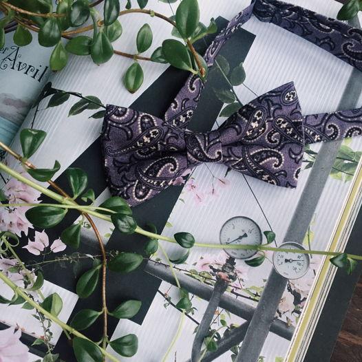 Галстук-бабочка фиолетового цвета в огурец