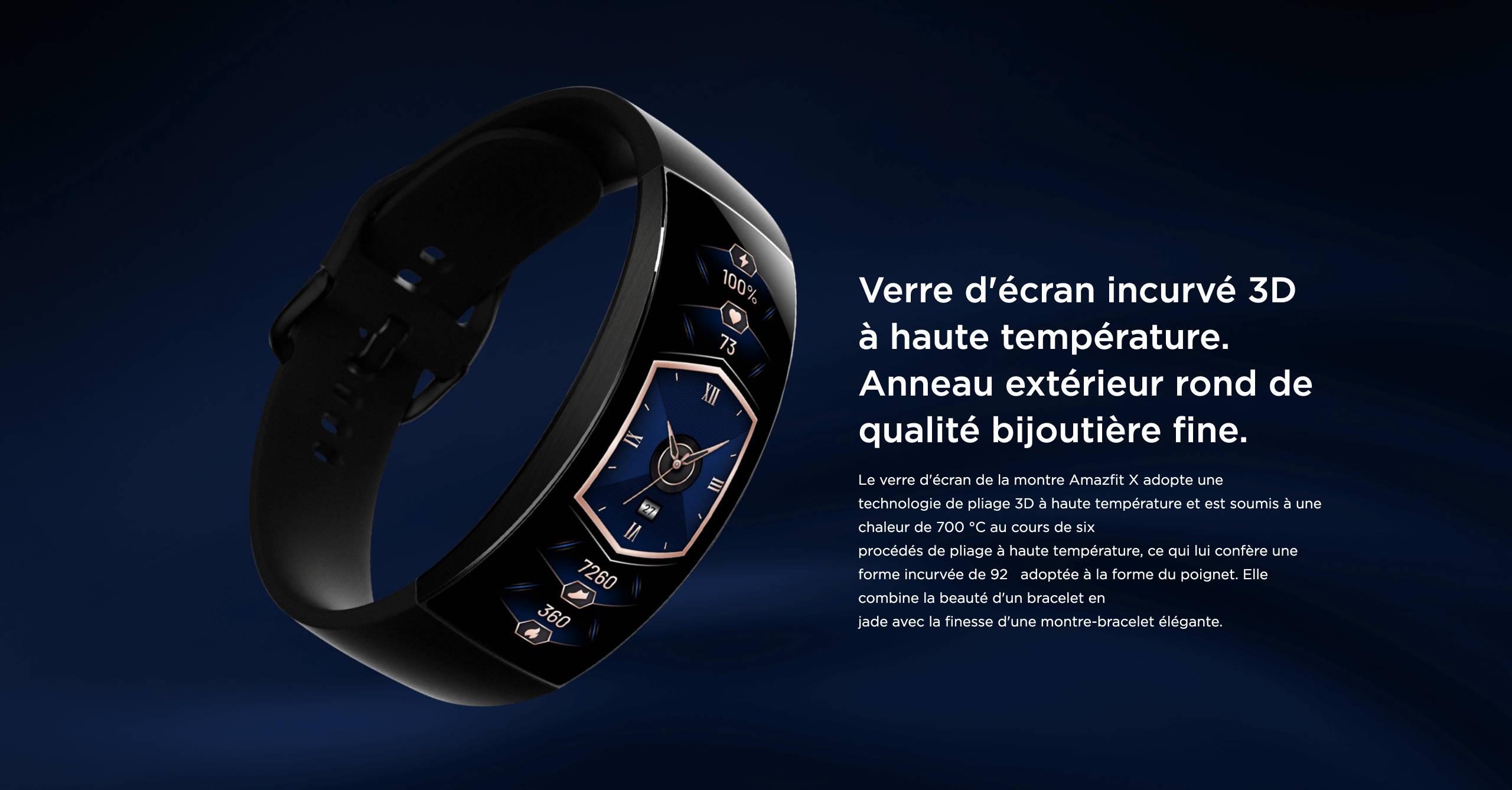 Amazfit X - Verre d'écran incurvé 3D à haute température. Anneau extérieur rond de qualité bijoutière fine.