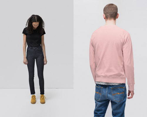 Woman wearing dark indigo high rise skinny fit organic cotton jeans and man wearing sustainable organic cotton sweatshirt in pink from Nudie Jeans