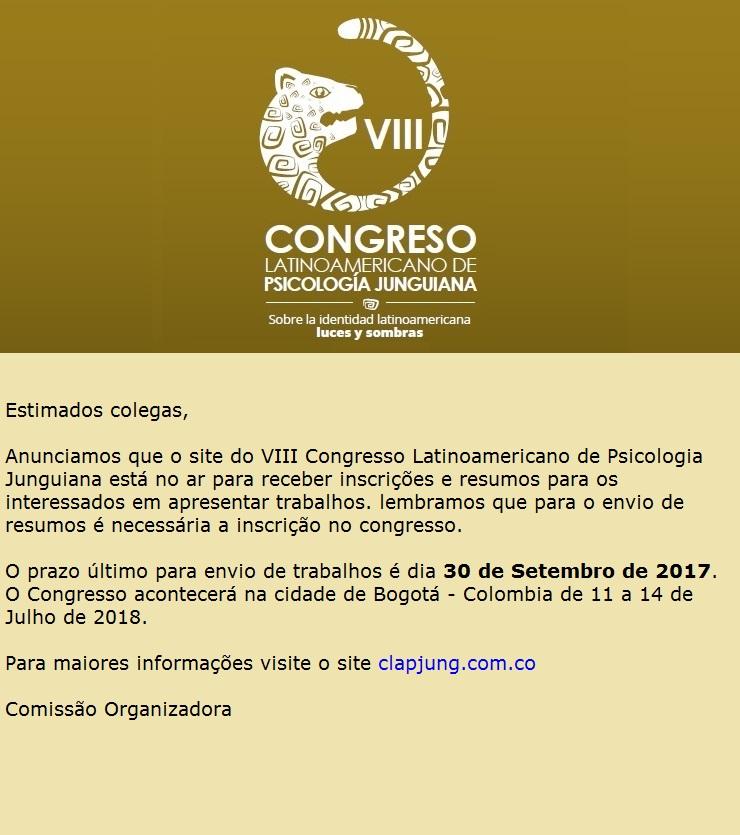 SITE NO AR - VIII Congresso Latinoamericano de Psicologia Junguiana - - Colombia, Bogotá- 11 a 14 de Julho de 2018