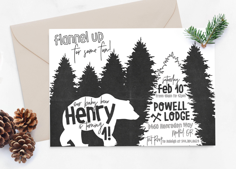 baby bear, baby bear first birthday invitation, flannel up for some fun, designtwentyfive