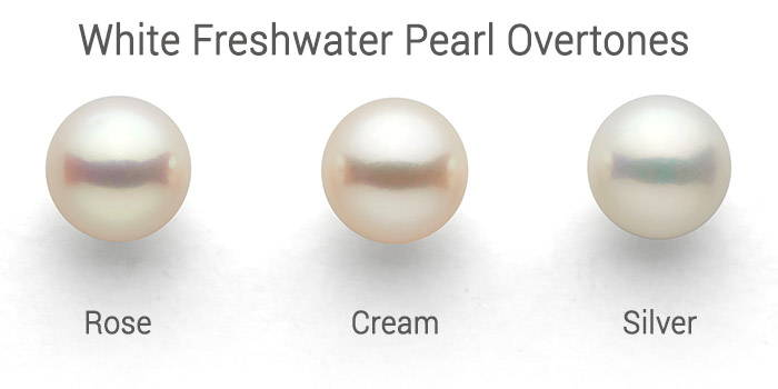 white Freshwater pearl overtones: rose, cream, silver