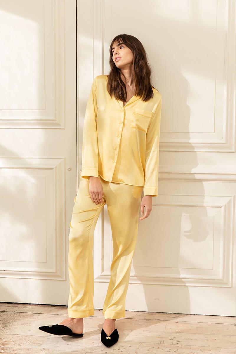 Sunshine Yellow Silk Pyjamas matched with black velvet slippers